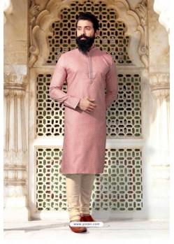 Baby Pink Jacquard Designer Kurta Pajama