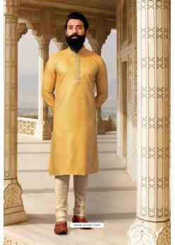 Yellow Jacquard Designer Kurta Pajama