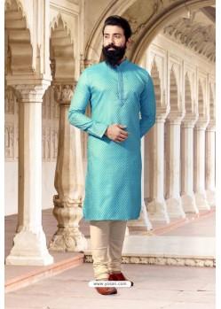 Sky Blue Jacquard Designer Kurta Pajama