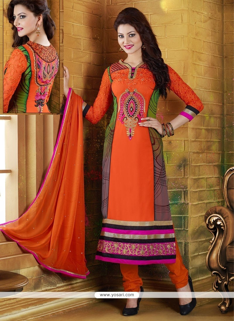 Baronial Orange Georgette Churidar Salwar Suit