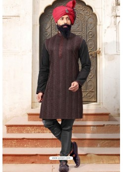 Black Dupion Silk Designer Kurta Pajama