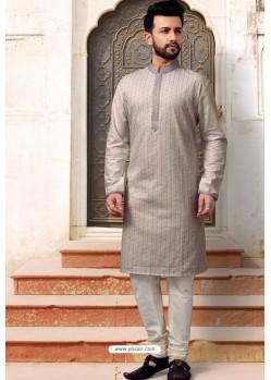 Grey Slub Silk Designer Kurta Pajama