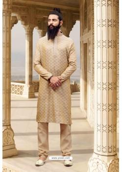 Light Beige Jacquard Silk Designer Kurta Pajama