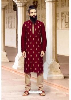 Maroon Dupion Silk Designer Kurta Pajama