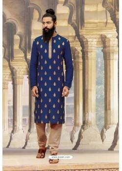 Royal Blue Slub Silk Designer Kurta Pajama