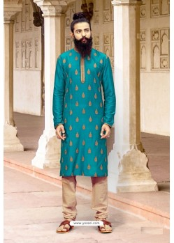 Turquoise Blue Slub Silk Designer Kurta Pajama