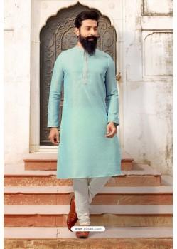 Sky Blue Jacquard Silk Designer Kurta Pajama