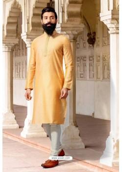 Yellow Jacquard Silk Designer Kurta Pajama