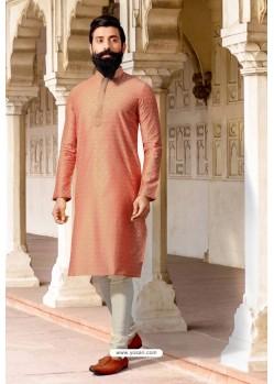 Light Orange Jacquard Silk Designer Kurta Pajama