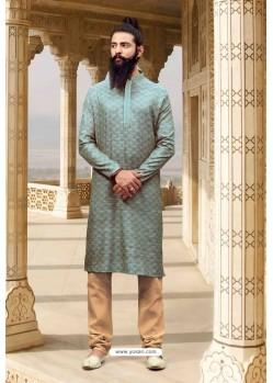 Aqua Grey Jacquard Silk Designer Kurta Pajama