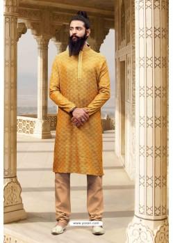 Mustard Jacquard Silk Designer Kurta Pajama