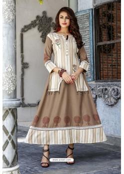 Beige Cotton And Rayon Fancy Readymade Kurti