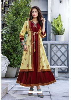 Maroon And Yellow Cotton And Rayon Fancy Readymade Kurti