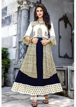 White And Blue Cotton And Rayon Fancy Readymade Kurti