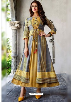 Grey And Mustard Cotton And Rayon Fancy Readymade Kurti