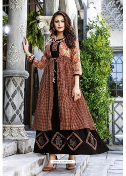 Black And Rust Cotton And Rayon Fancy Readymade Kurti