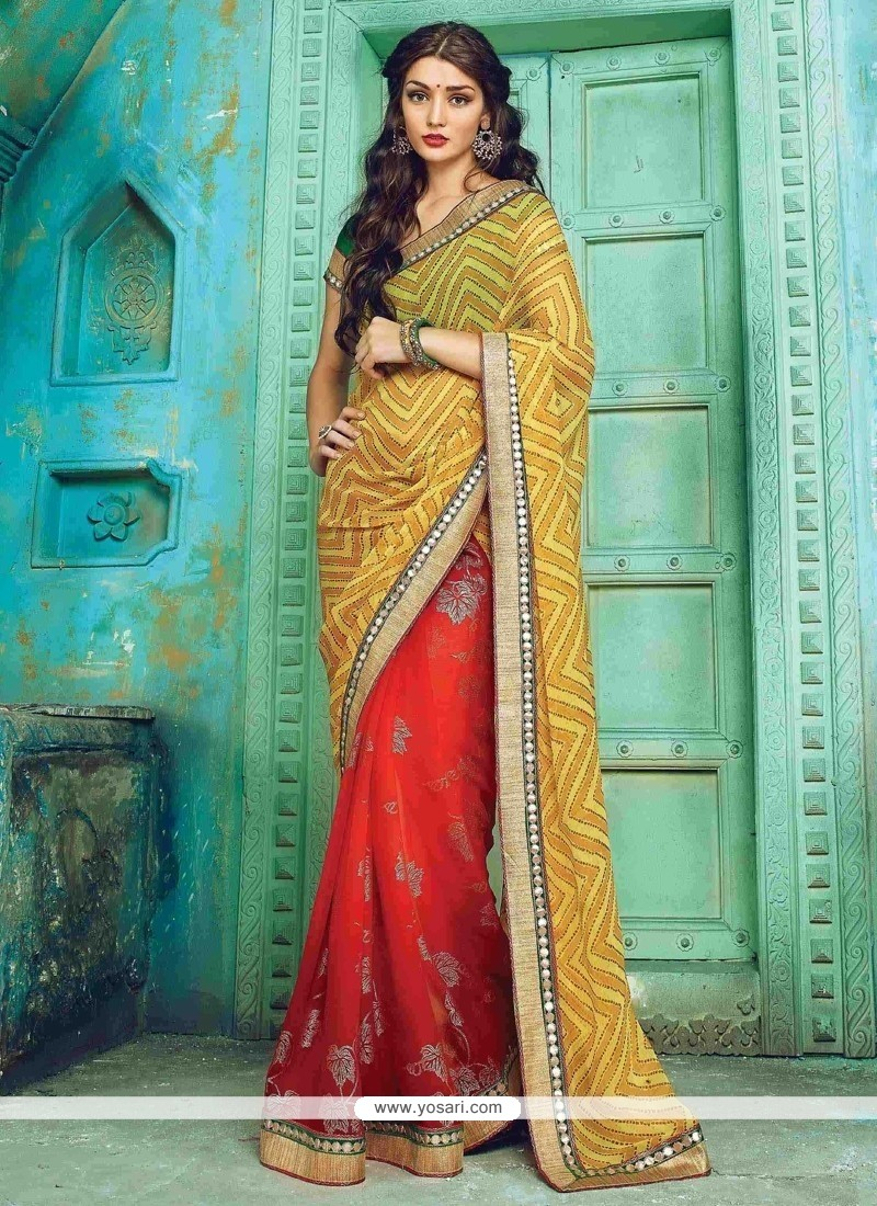 Dainty Print Work Red And Yellow Georgette Designer Traditional Sarees