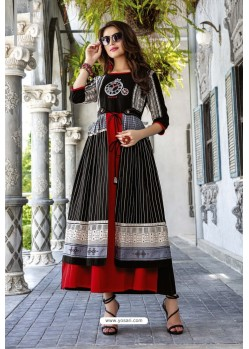 Black And Red Cotton And Rayon Fancy Readymade Kurti