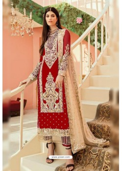 Red Faux Georgette And Tussle Heavy Designer Suit