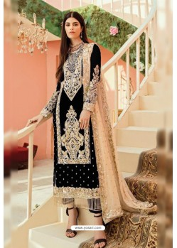 Black Faux Georgette And Tussle Heavy Designer Suit