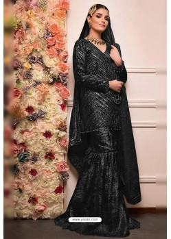 Black Faux Georgette Pakistani Style Sharara Suit