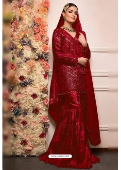 Red Faux Georgette Pakistani Style Sharara Suit