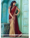 Amusing Beige And Maroon Designer Traditional Sarees