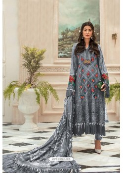 Grey Faux Georgette Pakistani Style Suit