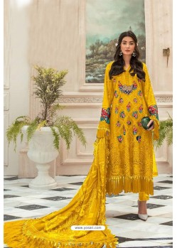 Yellow Faux Georgette Pakistani Style Suit