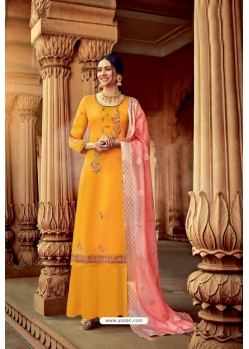 Yellow Satin Georgette Party Wear Palazzo Suit