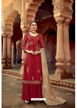 Maroon Satin Georgette Party Wear Palazzo Suit