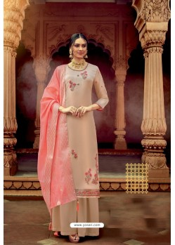 Cream Satin Georgette Party Wear Palazzo Suit