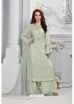 Sea Green Heavy Faux Georgette Designer Palazzo Suit