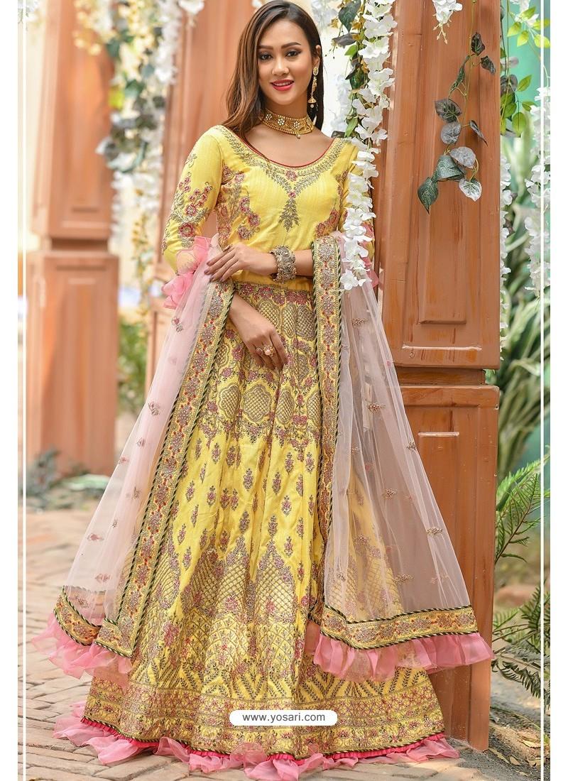 Light Yellow Chennai Silk Designer Lehenga Choli
