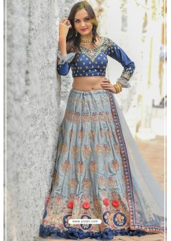Grey And Blue Adda Silk Designer Lehenga Choli