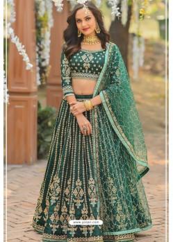 Dark Green Chennai Silk Designer Lehenga Choli