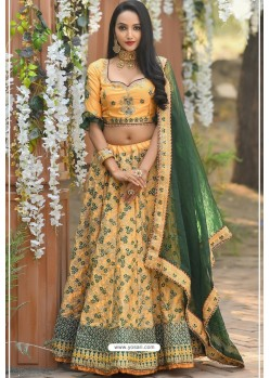 Light Orange Adda Silk Designer Lehenga Choli