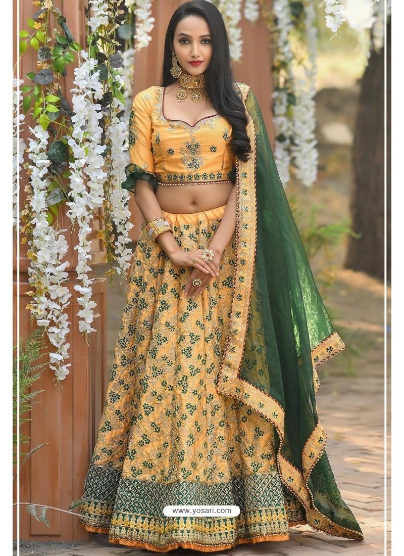 Light Orange Adda Silk Designer Lehenga Choli