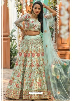 Sea Green Adda Silk Designer Lehenga Choli