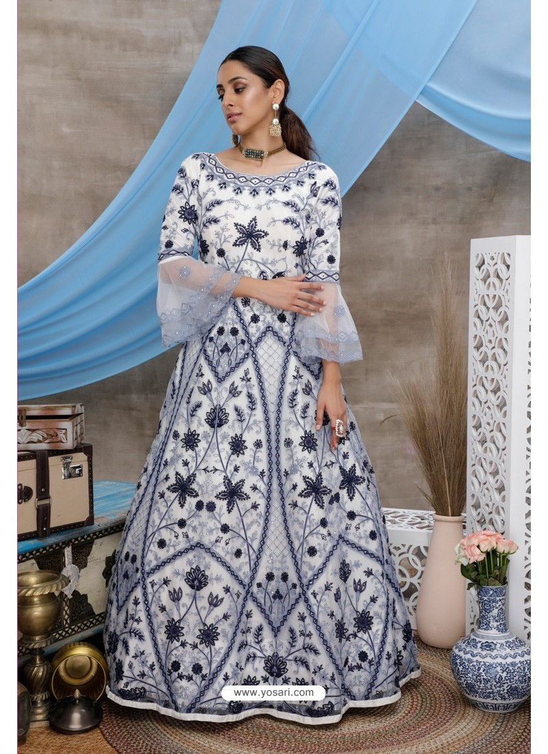 White Net Embroidered Designer Gown Style Suit