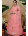 Pink Net Embroidered Designer Lehenga Style Gown Suit