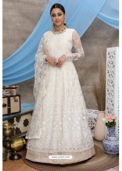Off White Net Embroidered Designer Gown Style Suit