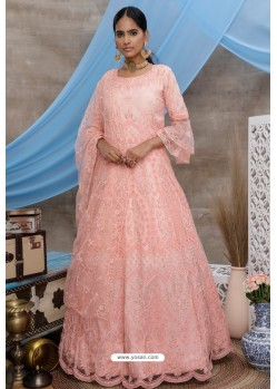 Peach Net Embroidered Designer Gown Style Suit