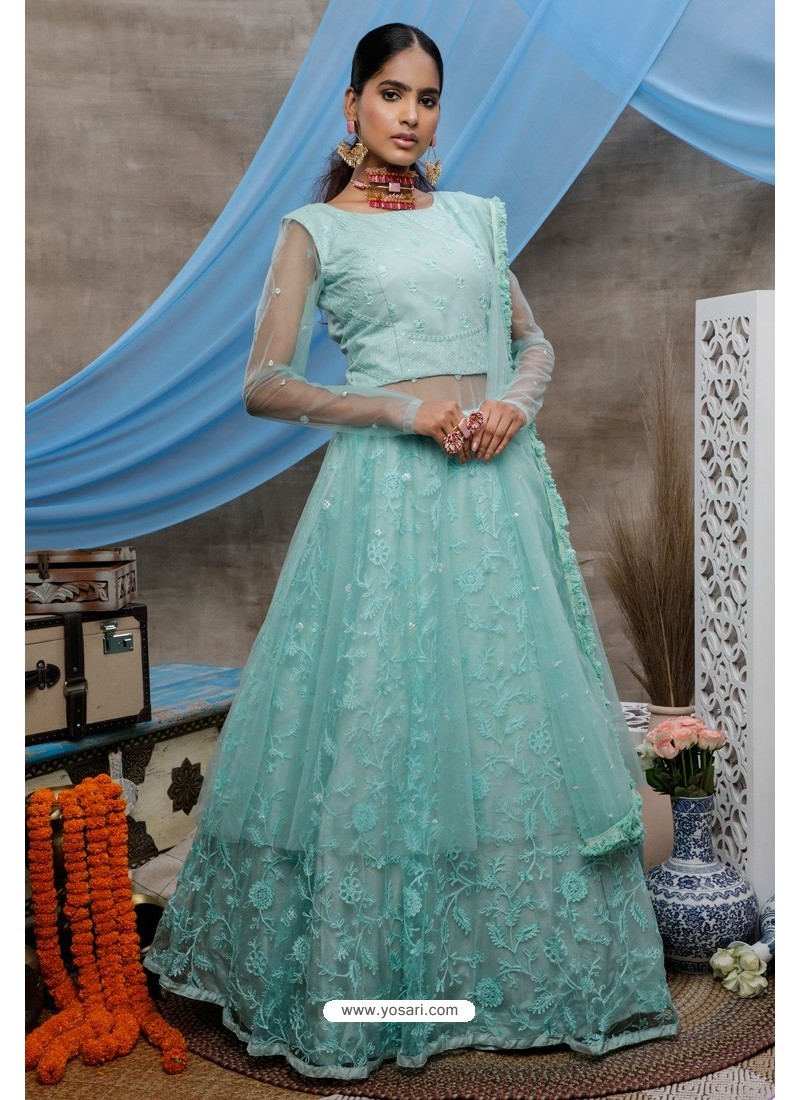 Firozi Net Embroidered Designer Lehenga Style Gown Suit