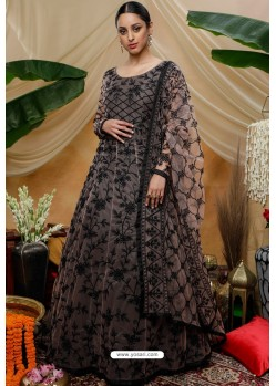 Multi Colour Net Embroidered Designer Gown Style Suit