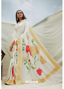 White Pure Soft Silk Designer Traditional Wear Saree