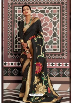 Black Pure Soft Silk Designer Traditional Wear Saree