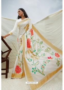 Sizzling White Pure Soft Silk Designer Saree