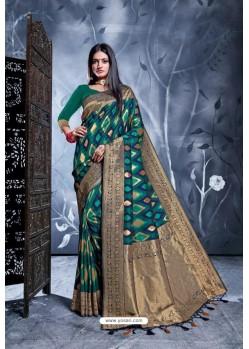 Teal Rich Banarasi Silk Party Wear Saree