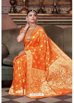 Orange Pure Silk Weaving Party Wear Saree